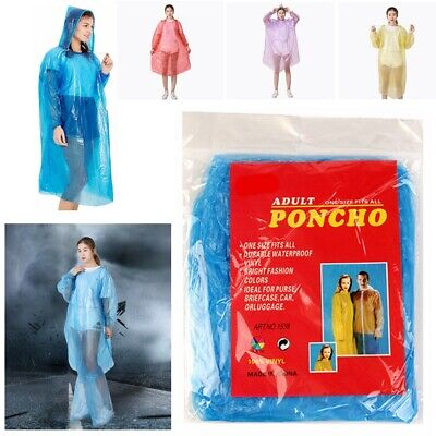 3X Emergency Waterproof Poncho Plastic Coloured Hooded Coat Festival Camping Uk
