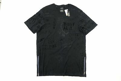 Buffalo David Bitton Black 2Xl Scribble Hand Written Art Vneck Tshirt Mens Nwt