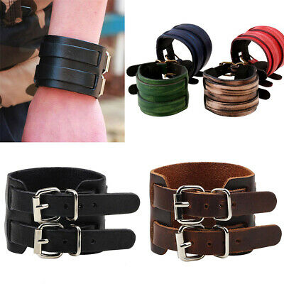Punk Men Leather Clasp Wide Cuff Bracelet Unisex's Wristband Bangle Jewelry Cool
