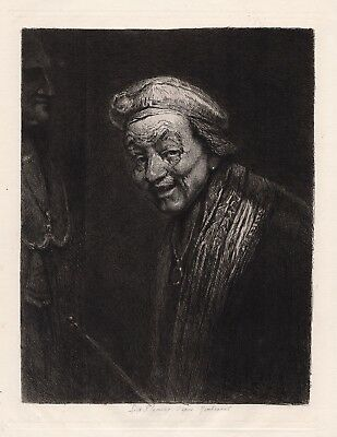 "Extraordinary Rembrandt 1800s Etching ""Old Laughing Rembrandt"" SIGNED Framed COA"