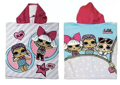 Children's Official LOL Surprise Girls 100% Cotton Hooded Poncho Kids Towel