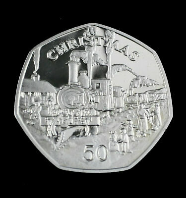 1984 Isle of Man SUTHERLANDS TRAIN  50p Fifty Pence Christmas Coin BUNC ,