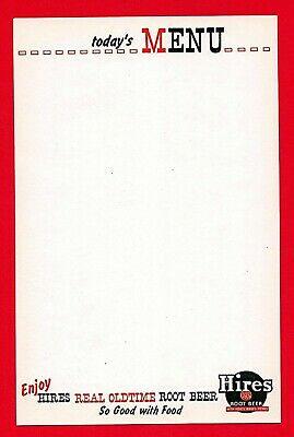 10 Oldtime Hires Logo Root Beer Todays Menu Sheet Unused Old Store Stock