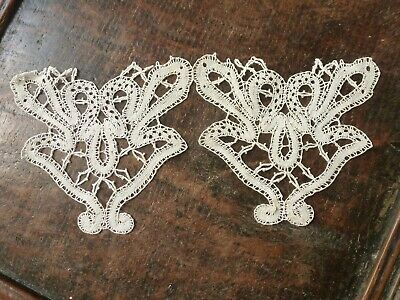 Antique Pair Of French Handworked Lace Appliques Motifs