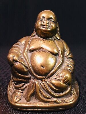 Chinese old  Buddhism brass Ruyi Happy Laugh Wealth Maitreya Buddha Statue