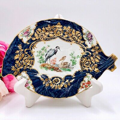 Cobalt Blue Relish Dish by Booths Vintage, Scale Pattern, Gild, Exotic Birds