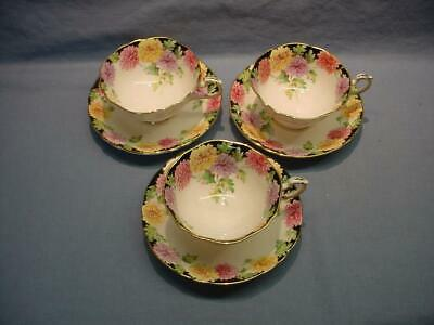 "3 Paragon ""Mums"" Teacups & Saucers"