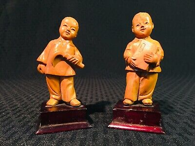 Vintage Chinese Wood Hand Carved Republic Period 2 School Boy Statue Figures