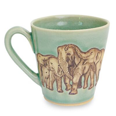 Aqua Celadon Ceramic Mug Painted Elephants 'Cozy Family' NOVICA Thailand