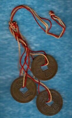 ANTIQUE 3 TIED FENG SHUI GENUINE CHINESE COINS wealthyESTATE OVER 100YRS OLD*NoR