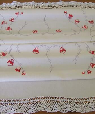 Beautiful Hand Embroidered Vintage Tablecloth - Pink Bell Vine Flowers-Lace Edge