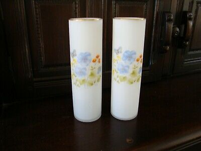 Pair of Satin Glass Vases Frosted, Flowers and Butterfly painted, excellent cond