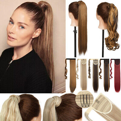 "UK Thick Hairpiece Clip in Ponytail Hair Extensions Real Long 17-26"" as Human fh"
