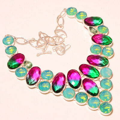 """Faceted Multi Tourmaline, Green Milky Opal 925 Silver Jewelry Necklace 18"""""""