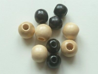 4mm HOLE 10 x 10mm DIAMETER ROUND WOODEN 5 BLACK /& 5 PINE BEADS