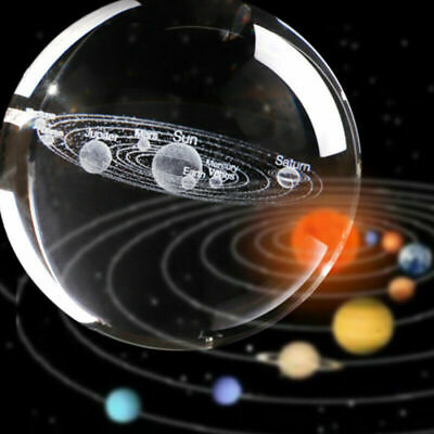 3D Solar System Crystal Ball Planets Glass Laser Engraved Globe Decoration Gift