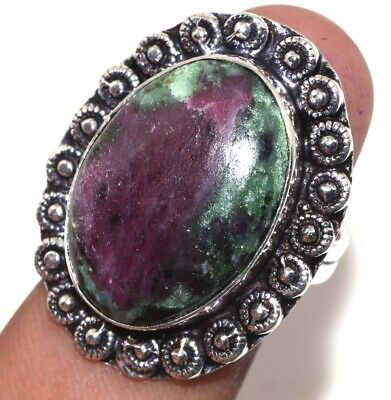 E0895 Ruby Zoisite 925 Sterling Silver Plated Ring Us 8.5
