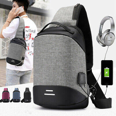Mens Womens USB Charging Anti-Theft Backpack Laptop Notebook Travel School Bag