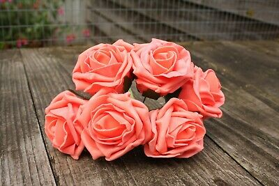 6 x SOFT CORAL PINK  COLOURFAST FOAM COTTAGE ROSES 6cm