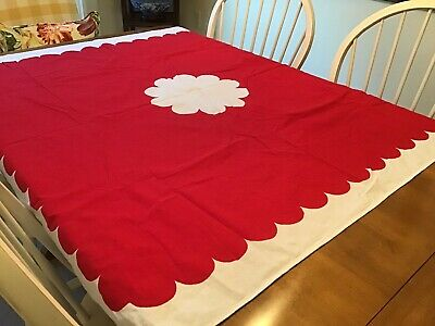 "Vintage ARTEX Cotton Tablecloth Red & White Looks like Barkcloth 52""x 50"" Exc"