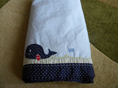 Boys Pottery Barn Crib Dust Ruffle-Whale