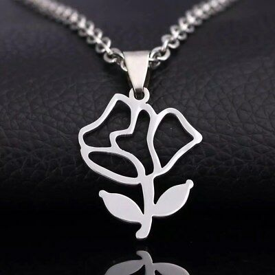 NEW Rose Silver 316L Stainless Steel Titanium Pendant Necklace G47