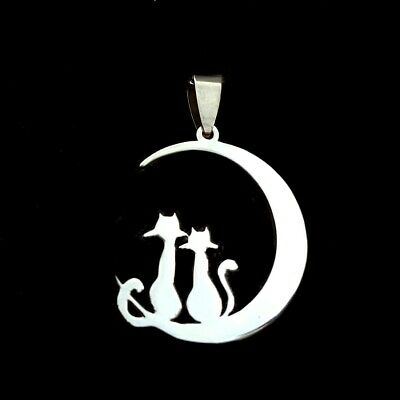 NEW Moon Cat Silver 316L Stainless Steel Titanium Pendant Necklace G40