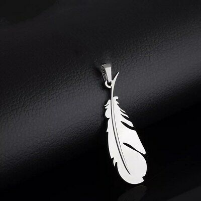 NEW Fashion Feather Silver 316L Stainless Steel Titanium Pendant Necklace G30