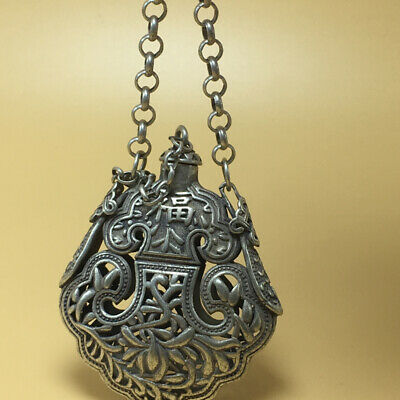"""chinese Tibetan silver old copper hand carved """"福"""" statue snuff bottle 57g"""