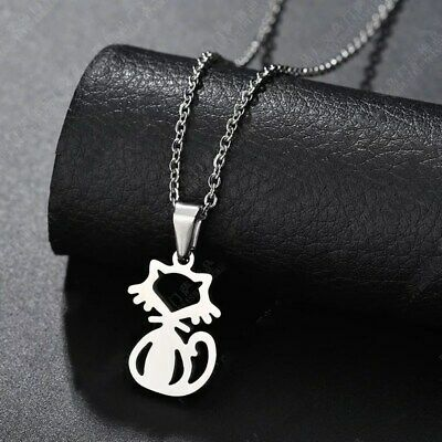 Fashion Lovely Cat  Silver 316L Stainless Steel Titanium Pendant Necklace G27