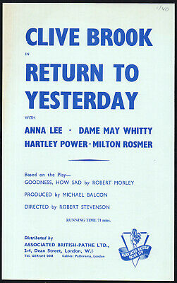 RETURN TO YESTERDAY 1940 Clive Brook, Anna Lee EALING STUDIOS SYNOPSIS