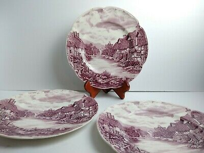 "(3) Johnson Brothers Olde English Countryside, 10"" Dinner Plate RARE Purple"