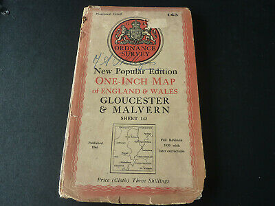 Antique National Grid O/S one-inch cloth map Gloucester & Malvern sheet 143