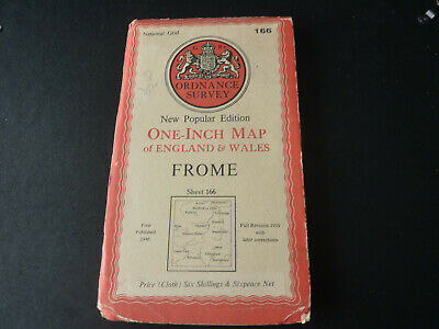Antique National Grid O/S cloth one-inch map of Frome sheet 166