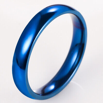 4mm Women Stainless SteelPolished Wedding Party Band Ring Blue Size5