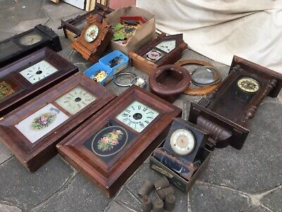 A quantity of clocks ,sold only for spares or restoration. Old clocks.