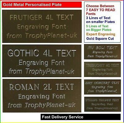 Gold PERSONALISED ENGRAVING PLATE, Metal Engraved Plaque for Trophies and Events