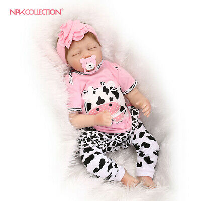 55cm Handmade Lifelike Baby Soft Vinyl Silicone Reborn Baby Girl With Clothes