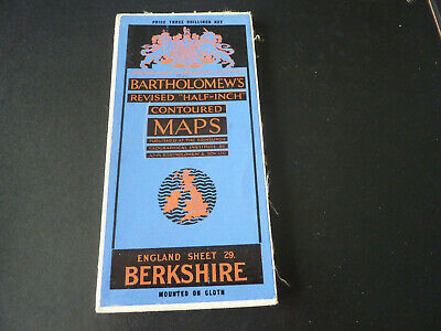 Vintage Bartholomew's half-inch contoured cloth map of Berkshire sheet 29