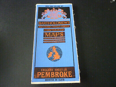 Vintage Bartholomew's contoured half-inch  cloth map of Pembroke sheet 21