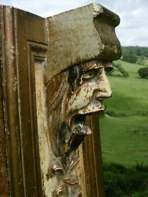 SUPERB 19thc GOTHIC WOOD CARVED PANEL WITH GROTESQUE HEAD ORIG PAINTED DECOR