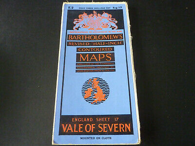 Vintage Bartholomew's contoured half-inch cloth map of Vale of Severn sheet 17