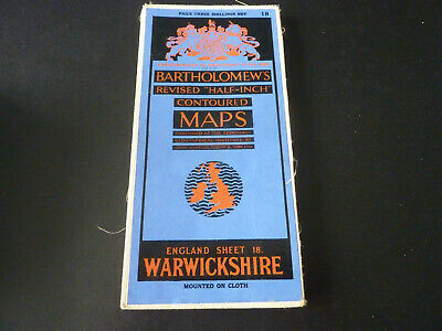 Vintage Bartholomew's contoured half-inch cloth map of Warwickshire sheet 18