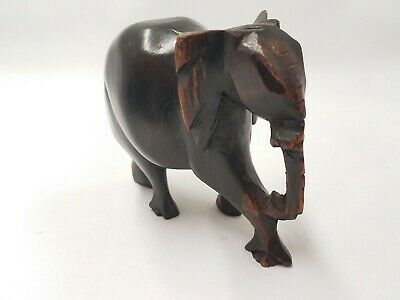 """Wooden Elephant Figure Statue Hand Carved item appox. 4""""x4"""""""