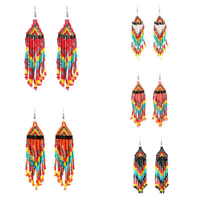 Bohemian Party Ethnic Boho Tassel Women Jewelry Long Earrings Beads Dangle Drop