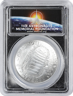 2019-P Apollo 11 50th Ann Commem Silver Dollar PCGS MS70 FDOI First Day AMF Logo