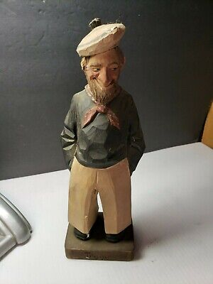 Vintage Signed Carl Johan Trygg Sweden Wooden Carved Old Salt Man Figurine