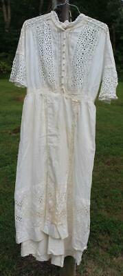 Vintage Tea Dress Circa 1910-1920 Ivory Lace
