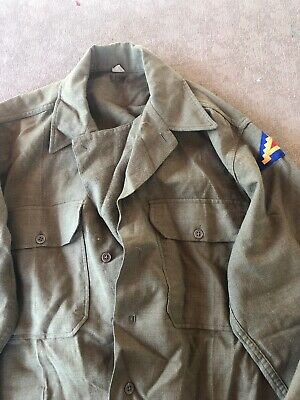 Ww2 Us Army Wool Gasflap Shirt With A German Made 7Th Army Patch