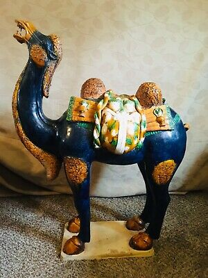 """Antique Chinese Tang Dynasty Large 40-3/4"""" Camel Statue Terra-Cotta Pottery Art"""